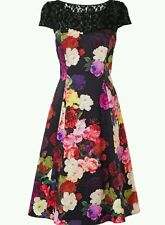 BNWT * Fase Ocho * Dora Vestido Talla 10 Negro Encaje/Floral, razas bodas cóctel