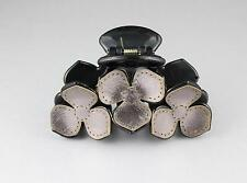"""Pewter Black hair clip flower floral plastic barrette jaw claw clamp 3.25"""" long"""