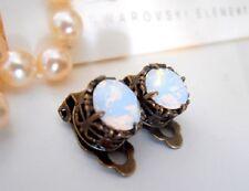 Bronze Art Deco Clip on Post Stud Earrings w/ Swarovski White Opal Crystals
