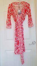 Diane von Furstenberg BandedJulian IKAT STAMP CORAL wrap dress 6 or 8 $428