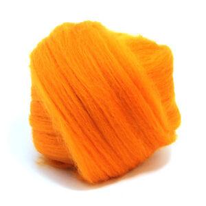 50g Dyed Merino Wool Top Clementine Orange Dreads Needle Spinning Felting Roving