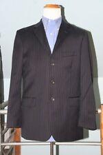 J Crew 42R 34 x 33 Navy Blue Pinstripe 100% Wool 3-Button 2pc Suit Sharp