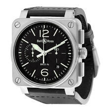 Bell and Ross Aviation Automatic Black Dial Black Leather Mens Watch