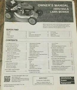 HONDA Power Equipment Owner's Manual  Lawn Mower HRR216VLA