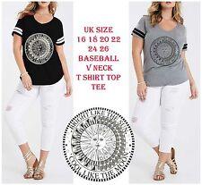 Plus Size V neck Baggy T Shirt Women Festival Sporty Oversized Top Tee 16 - 26