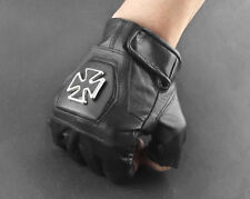 BLACK LEATHER IRON CROSS FINGERLESS GLOVES BIKER XTN3