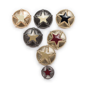 5pcs Star Metal Buttons Round Coat Clothing Sewing Decor Replace Diy 18-23mm