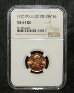 1972 Lincoln Cent Double Die Obv NGC MS 64 RD