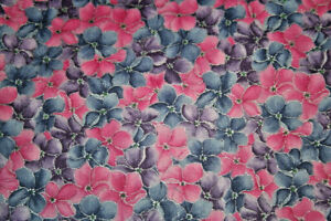 LES JARDINS FROM HOFFMAN-PINK AND PURPLE PANSIES - 100% COTTON FABRIC