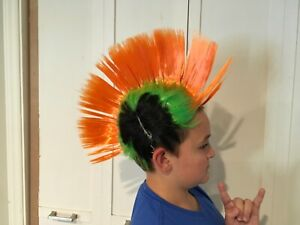 Light up Mohawk wig LED orange black green Punk Rave Costume Cosplay Festival