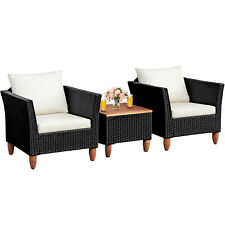 3PCS Outdoor Patio Rattan Furniture Set Wooden Table Top Cushioned Sofa Black