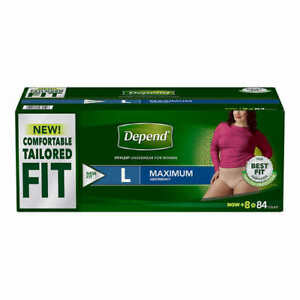 Depend FIT-FLEX Max Absorbency Underwear for Women L = 84 Count