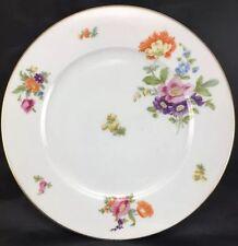 """KPM 2 Krister Porcelain Floral Gold Trim Salad Dessert Plate 7"""" Vtg Floral Rose"""