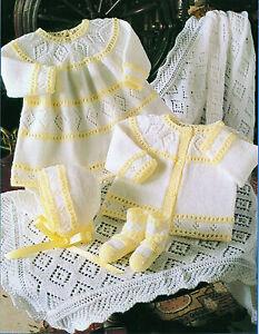 4163 Stylecraft Baby 4ply Knitting Pattern Dress,Cardigan,Bonnet,Bootees & Shawl