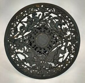 Fruit Bowl/Plant Pedestal Stand Greek Mythology Black Wrought Iron Vintage