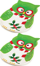 2 Pc Lot Holiday Hoot Big Plate Ceramic Christmas Winter Collection Owl Platter