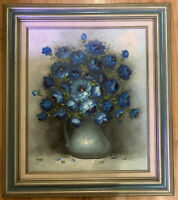 "Still Life Oil Painting, Blue Zinnias, Art Deco Vase, 20""x24"" Signed"