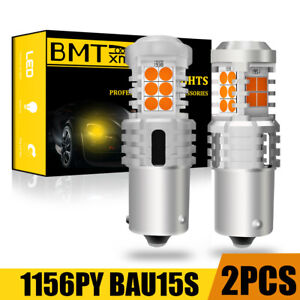 2x 1156PY 7507 BAU15S Amber LED Turn Signal Lights For Audi A6 C6 CAN-BUS