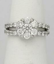 14k White Gold 1 1/2ct Round Diamond Flower Engagement or Right Hand Ring
