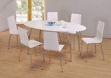 Dining Table Set Large White Gloss Oval Six White Chairs Office Meeting Room