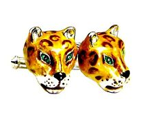 Jaguars Cufflinks, Sterling Silver, Enamel. G.DANILOFF & CO. USA