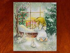 VINTAGE Christmas Card BLONDE PRAYING ANGEL GIRL WINDOW HOUSE BUNNIES HALLMARK