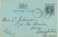 "CEYLON ""WATTEGAMA"" rare CDS VF QV Six Cents postal stationery letter card 1900"