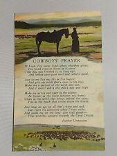 Postcard Cowboys' Prayer Poem Horse and Cowboy Silhouette Herd Cattle 1945 Linen