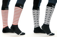 Horseware Long Soft Riding Knee Socks Stripe & Horse Print  2 Pack Sizes 36 - 41