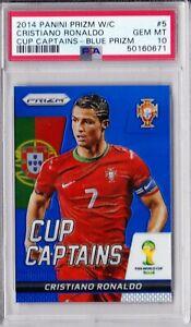 2014 Panini Prizm World Cup Captains Blue #5 Cristiano Ronaldo PSA 10 Gem Mint