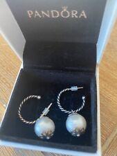 Pandora Small Hoop Pearl Drop Earrings
