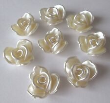 Ivory Pearl Flowers Flat Back Acrylic Cabochons 20mm Imitation Pearl - bag of 10
