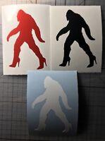Bigfoot Sasquatch Yeti Female Woman Girl  Diva High Heels Decal Sticker JEEP