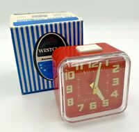 Westclox Vintage Alarm Clock Cubematic Red Cube 1970's Bedside With Box 21-405