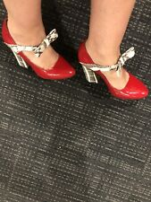 Authentic Gucci Red Patent Leather With Animal Print Leather Heels Size 36 1/2