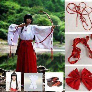 Anime Cosplay Inuyasha Kikyo Kimono Costume Whole Set clothes+clogs+socks+wig