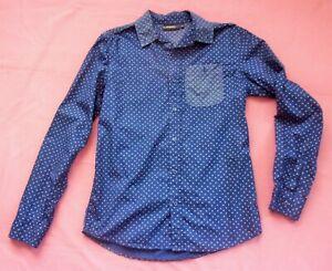 FLIPBACK ex-BHS 100% Cotton Blue Pattern Boys' Shirt - Age 14-15
