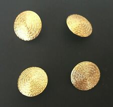Vintage 1980's Lot Of 4  Gold Tone Solid Plain Button Covers