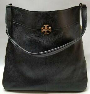 Tory Burch Black Pebbled Leather Hobo Zipper Bag
