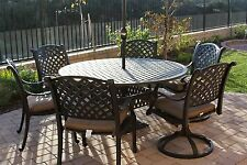 7 Piece Patio Dining Set Patio Outdoor Cast Aluminum Nassau with table - Antique