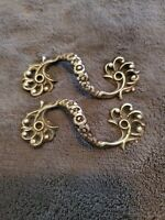 ANTIQUE PAIR OF CAST BRASS S LOOP DRAWER PULLS ~ UNIQUE ~ VICTORIAN ~ PRETTY!!