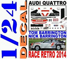 DECAL KIT 1/24 AUDI QUATTRO TOM BARRINGTON RACE RETRO 2014 (01)