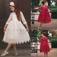 Kids Girls Christmas Dresses Lace Flower Princess Tulle Party Pageant Dress Cute