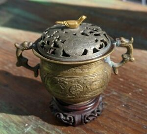 Vintage Chinese Bronze Miniature Incense Burner Censer Silver Lid Gold Dove Bird