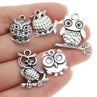 Lot of 10 Mixed Vintage Silver Metal Cute Owl Look Charm DIY Jewelry Pendants