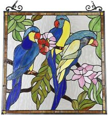 """24.8"""" x 23.4"""" Birds of ParadiseTiffany Style Stained Glass Window Panel Home Dec"""