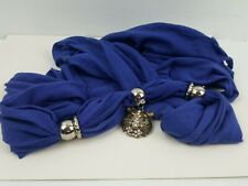 """Silver rings and tiger Pendant Necklace Scarf with Beaded Fringe 72"""""""