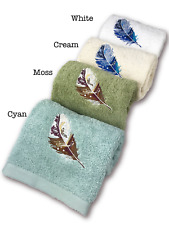 High End Embroidered Turkish Cotton Towel - Feather Design - Multiple Colors
