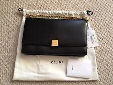 New ListingCeline Medium Flap Box Case Bag Black With Gold Chain Strap Brand New