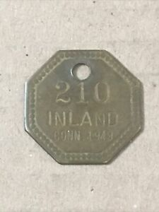 Vintage Brass Tag Token License Connecticut 1949 Inland Fishing ? Hunting?
